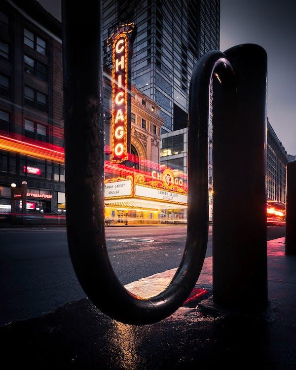 ánh đèn thành phố, ban đêm, bảng hiệu