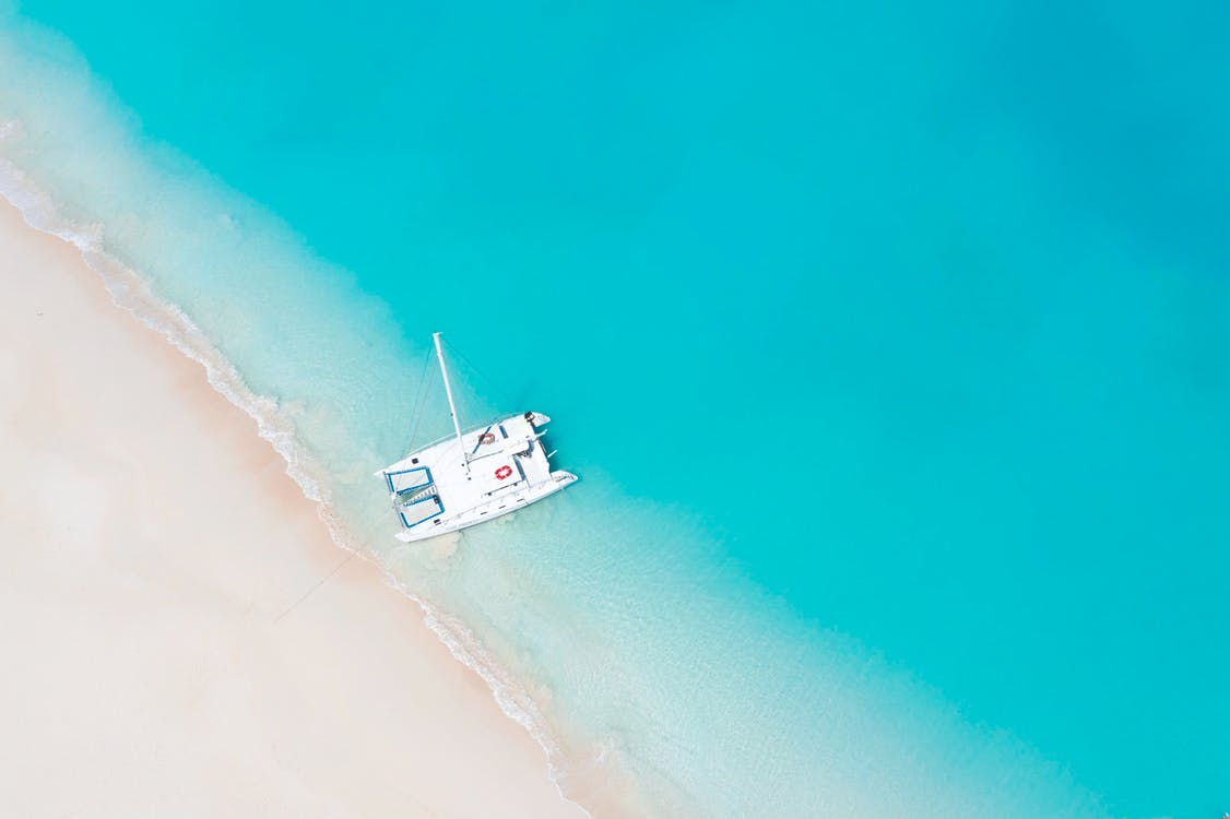 Top View Photo of Boat On Seashore