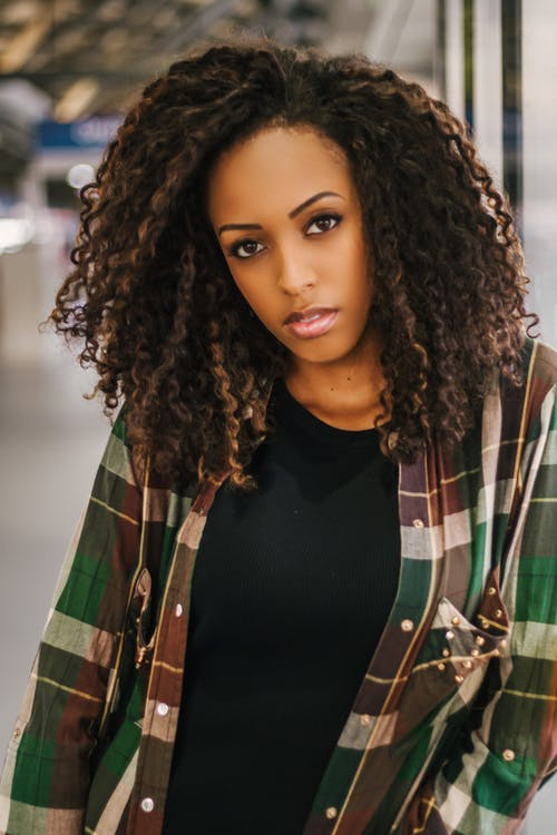 Woman Wearing Plaid Top