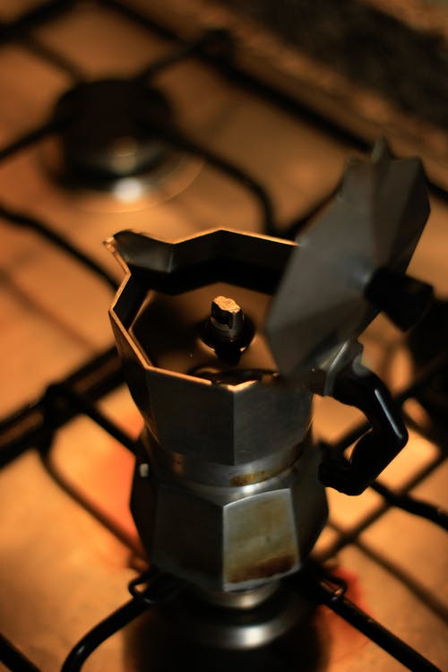 Grey Stainless Steel Moka Pot