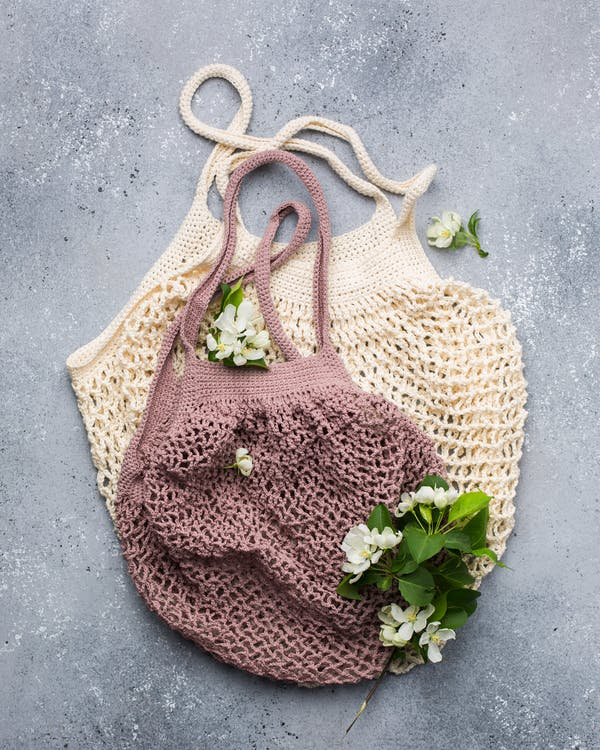 Brown and Purple knitted bags
