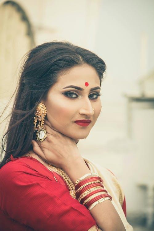 Woman In Red Sari Dress