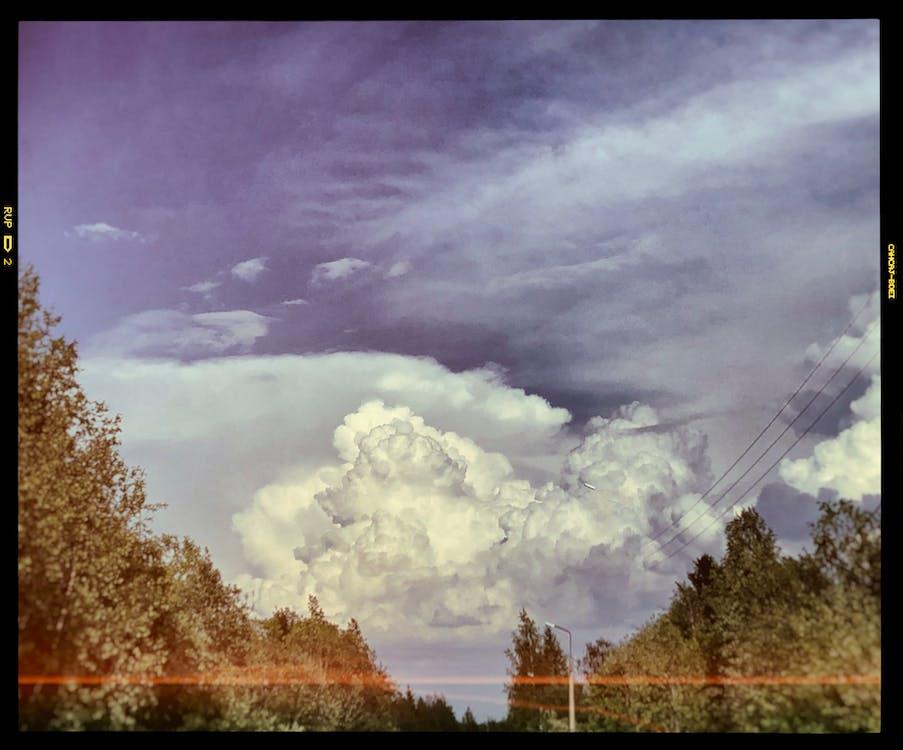 atmosfär, clouds, dag