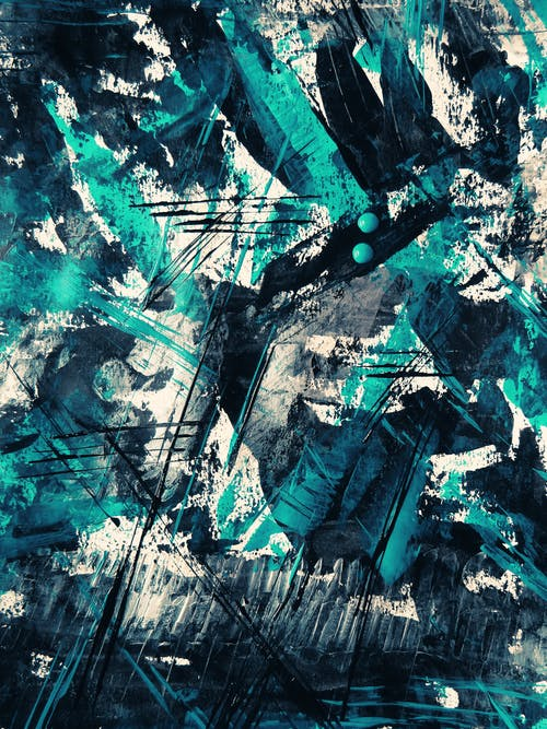 Teal And Black Abstract Painting
