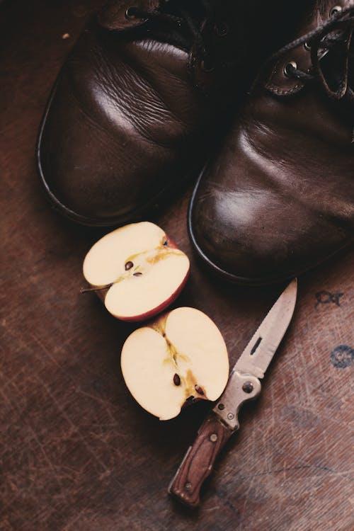 Gratis lagerfoto af æble, årgang, brun, camping kniv