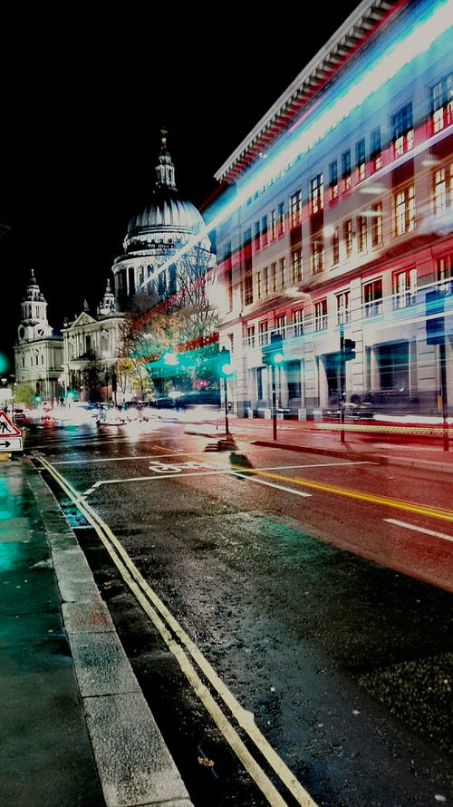Free stock photo of double-decker bus, long exposure, st paul cathedral