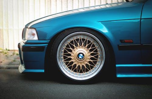 Free stock photo of blue, BMW, E36, gold wheels