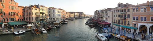 Panoramic View of Boats in Canal