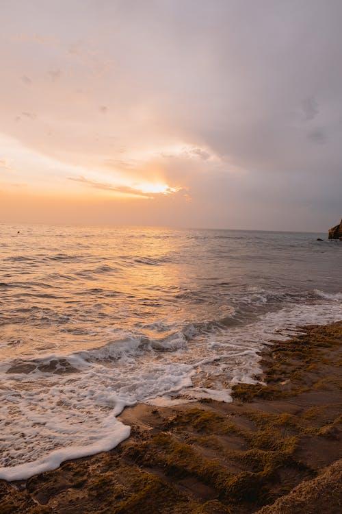 берег, восход, закат