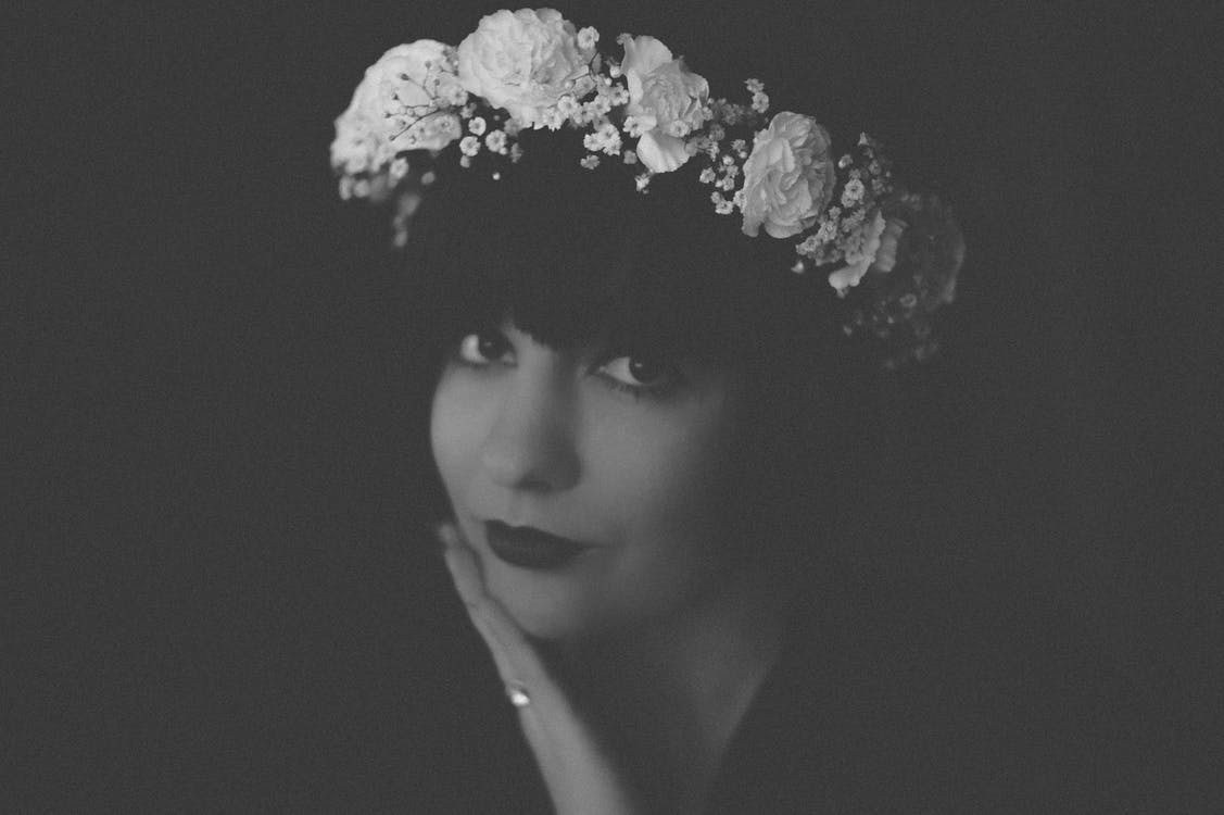 ansikt, ansiktsuttrykk, blomsterkrans