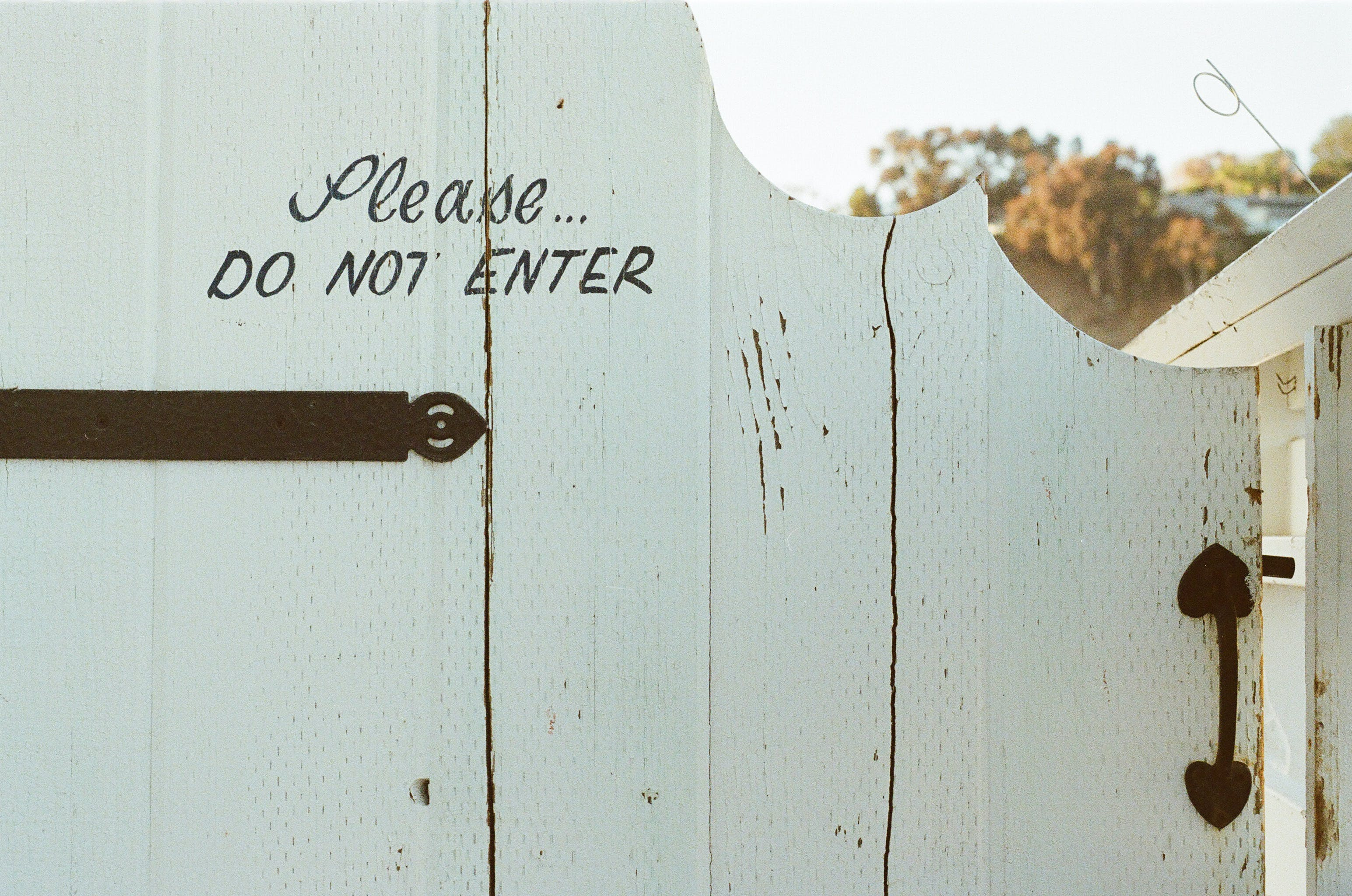 Free stock photo of typography, white, door, fence