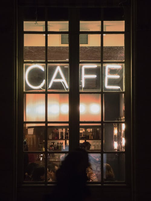 Neon Lighted Cafe Signage