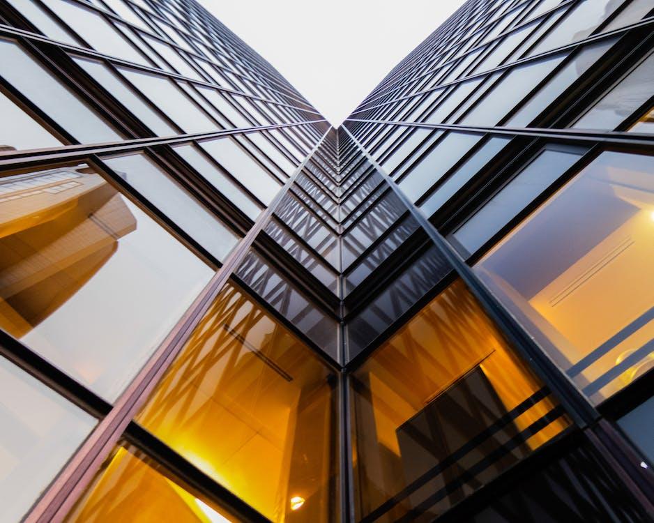 architektur, aufnahme von unten, büros