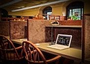 desk, laptop, school