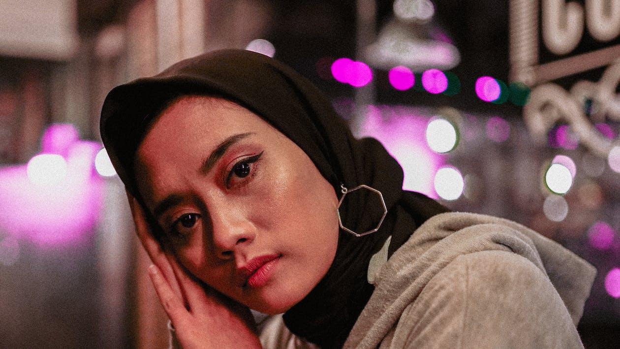 ansikt, ansiktsuttrykk, hijab