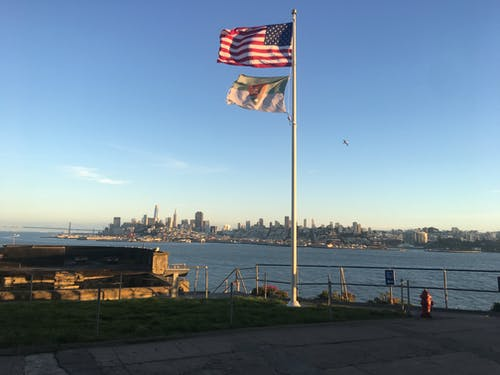 Free stock photo of American flags, by the sea, city, flags