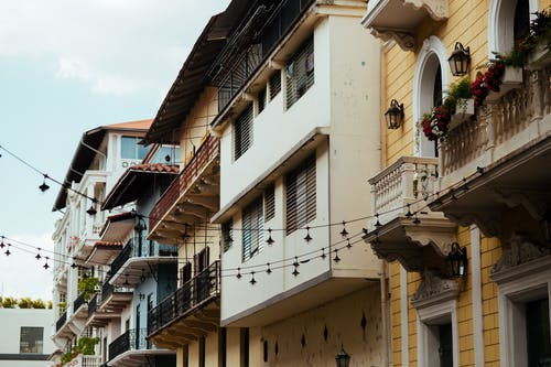 Painted Houses With Balconies