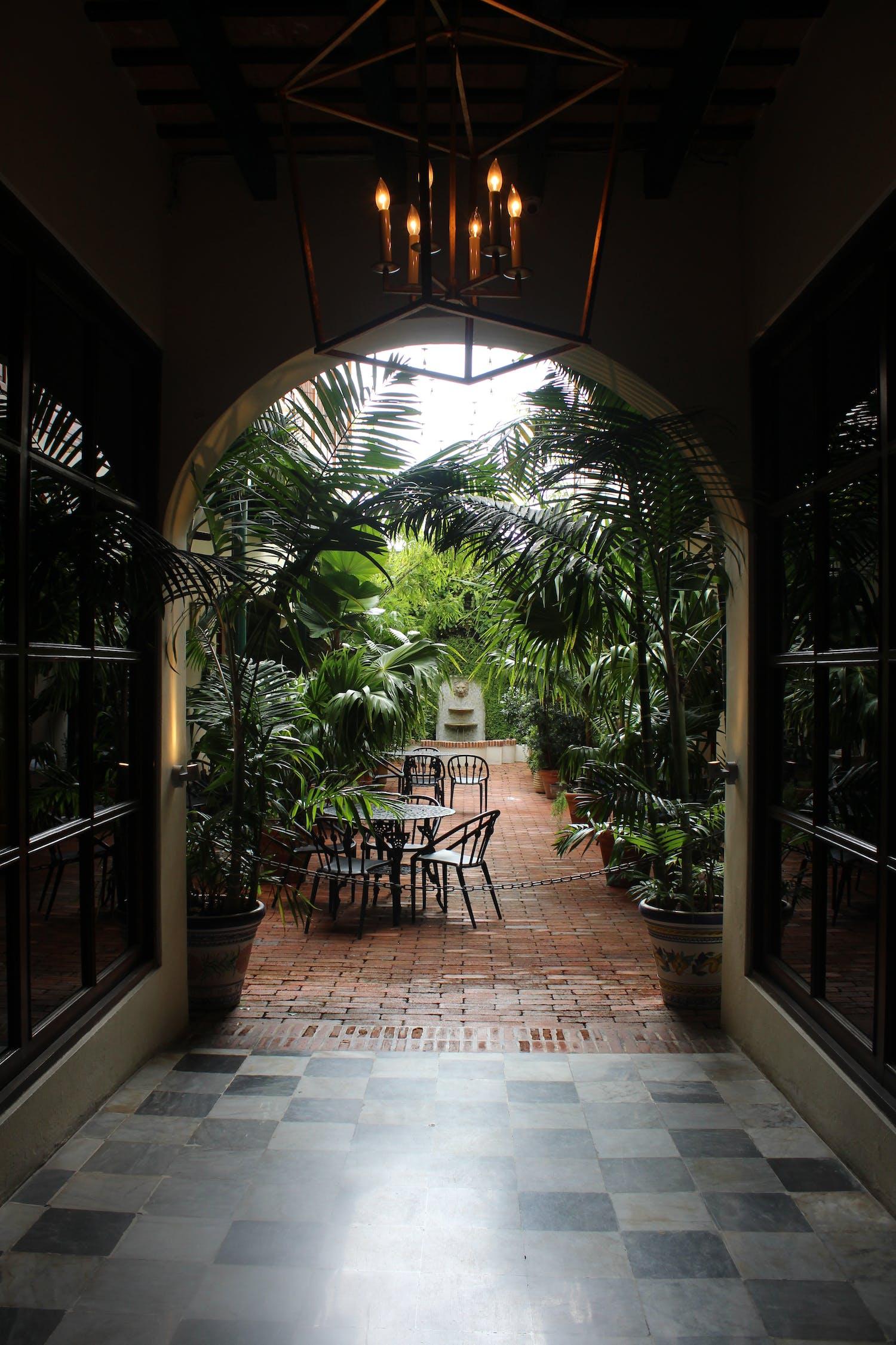 Terrastafel En Stoel In Een Tuin