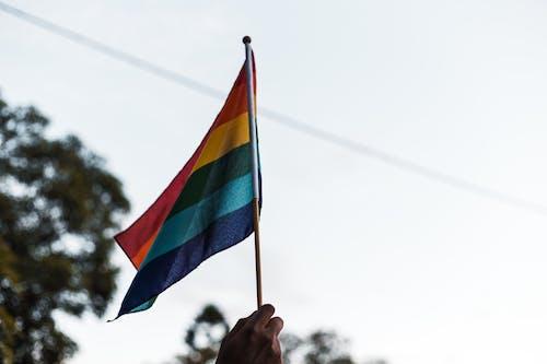 Person Raising a Multicolored Flag