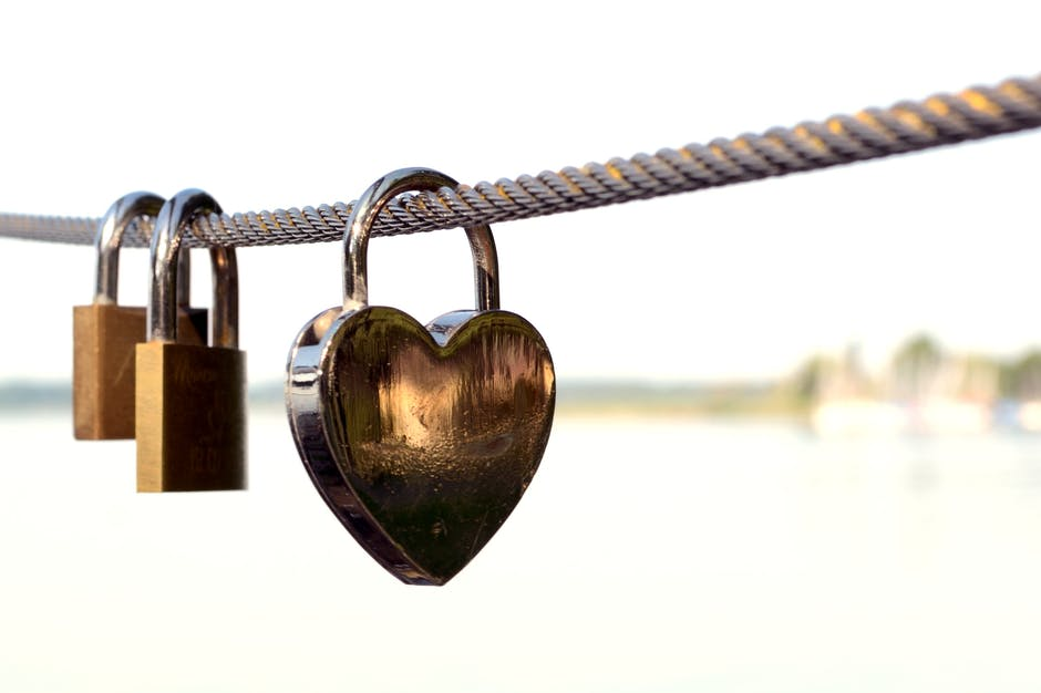 Close-up of Padlocks on Railing Against Sky