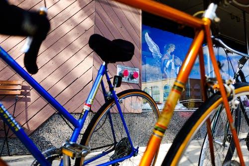 Foto profissional grátis de abstrair, armação, azul, bicicleta