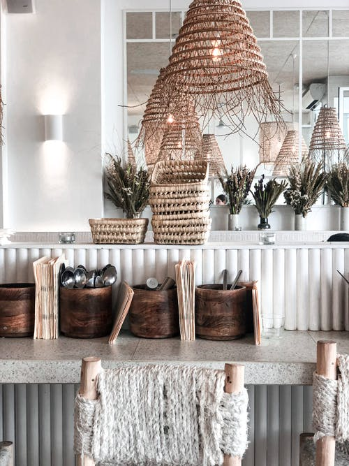 Brown Wicker Baskets on Counter