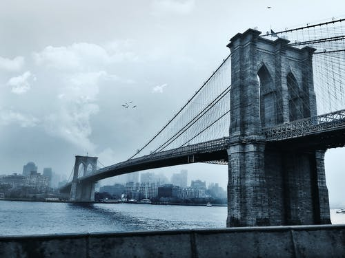 Photo of Suspension Bridge Under Cloudy Sky