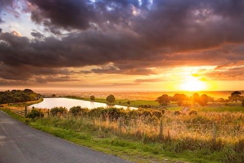 Immagine gratuita di acqua, alba, erba, paesaggio