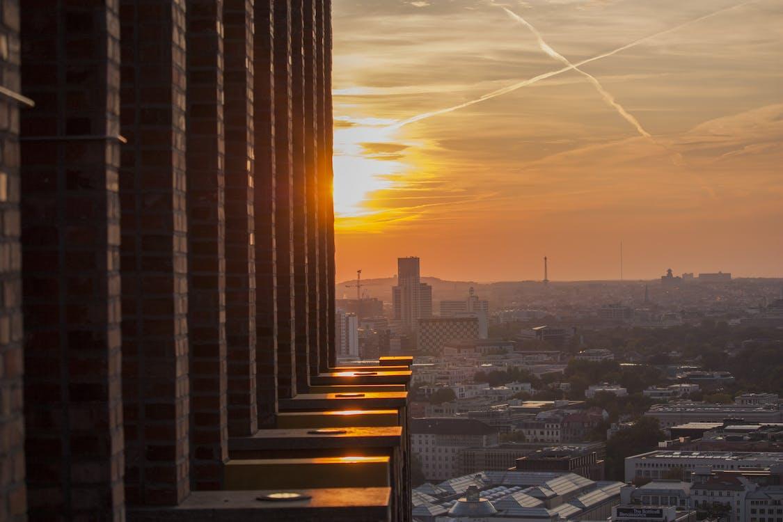 architektura, atmosferyczny, budynki