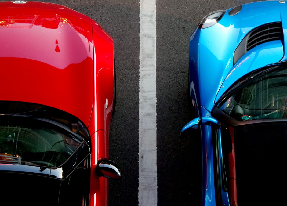 close up of cars parked