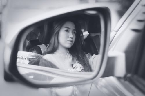 Free stock photo of driving, girl, mirror, reflection