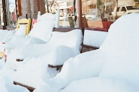 snow, winter, chairs