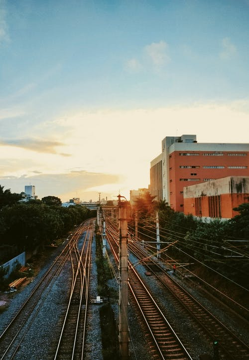 일몰, 일출, 철도의 무료 스톡 사진