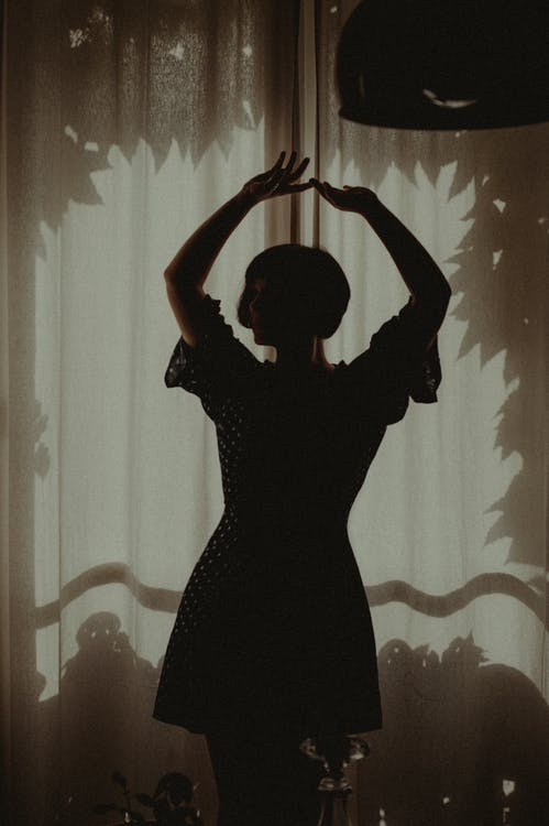 kobieta, okno, osoba