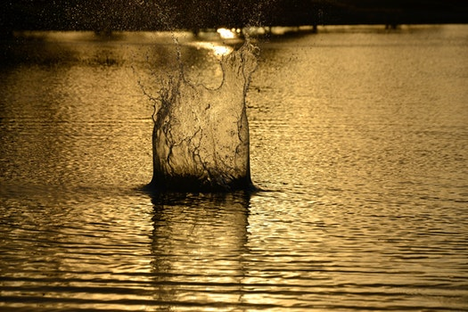Close-up of Rippled Water at Sunset