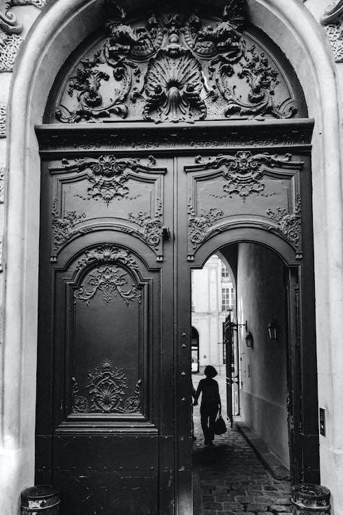 cổng vào, cửa, đen và trắng