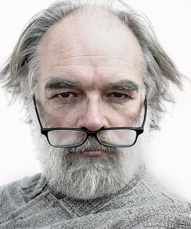 Man Wearing Black Framed Eyeglasses