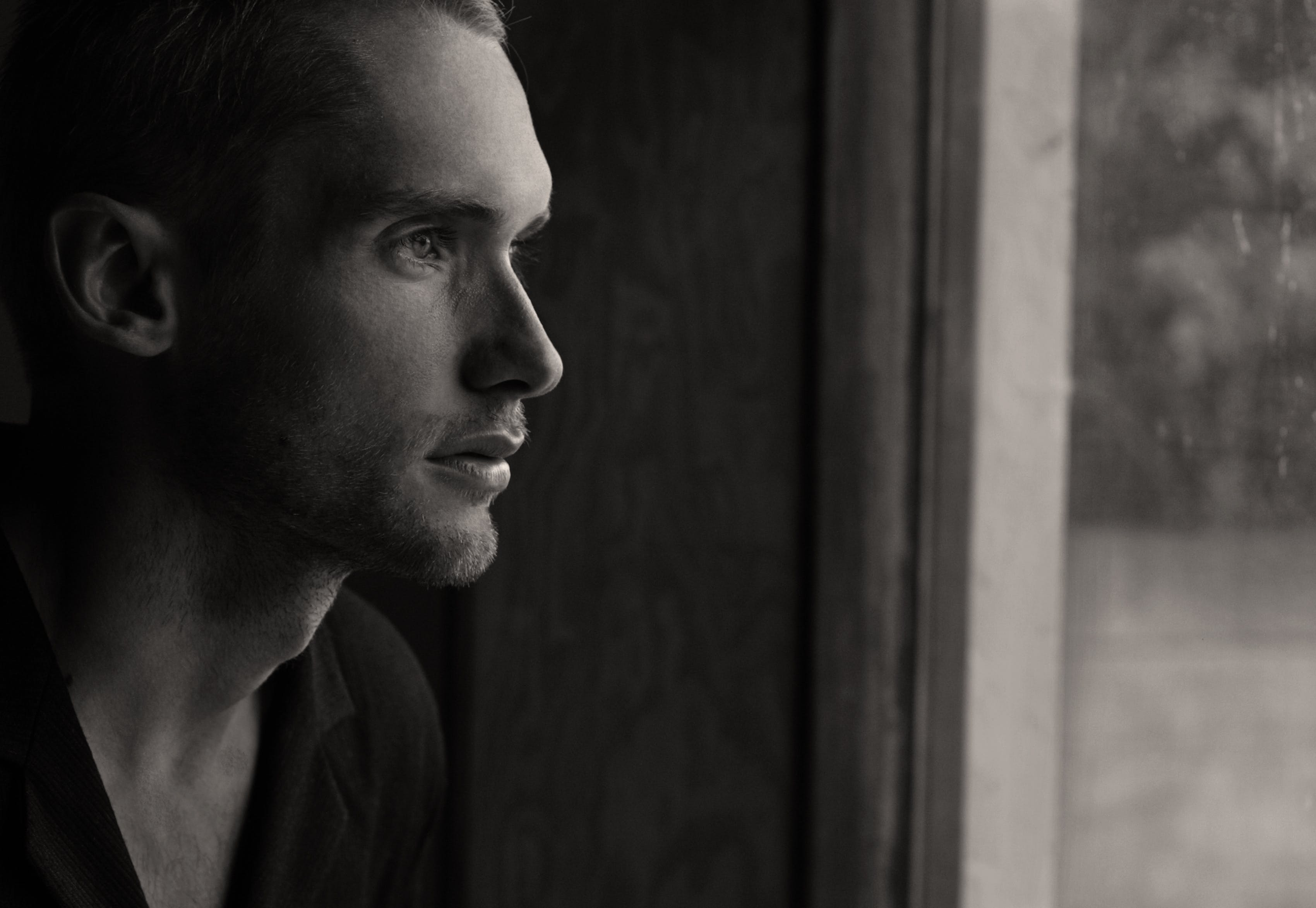 black-and-white, man, model
