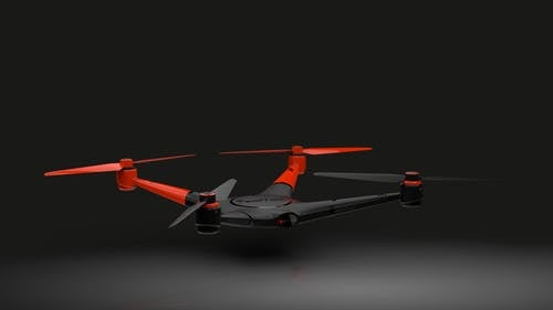 Gray and Red Quadcopter Drone