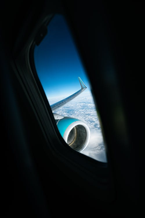 Free stock photo of airplane, airplane window, flying, transport