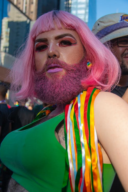 Person Wearing Pink Wig
