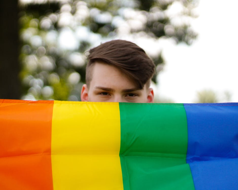 Person Holding A Multi Coloured Flag