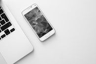 black-and-white, smartphone, laptop