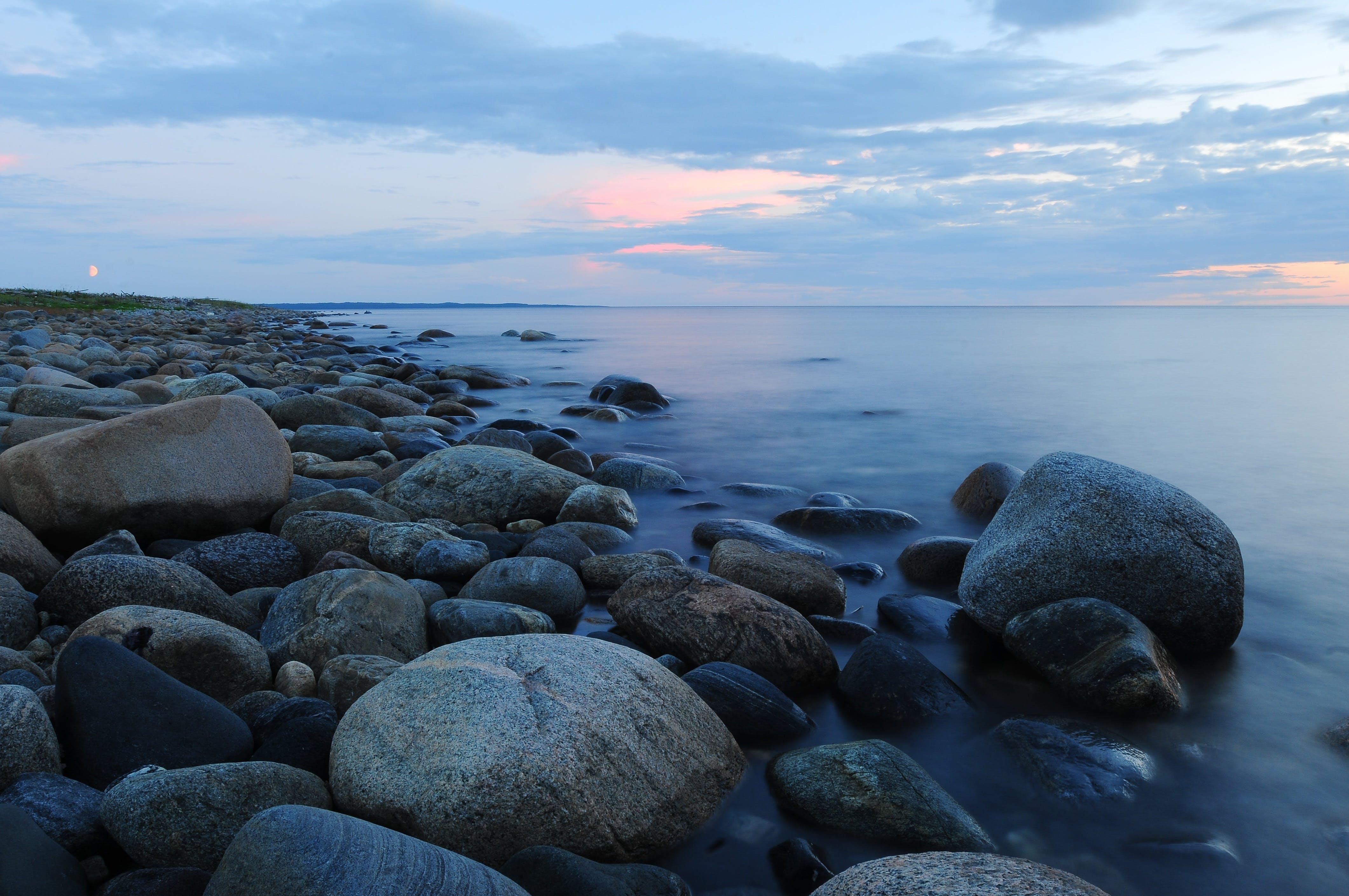 aften, bølge, hav