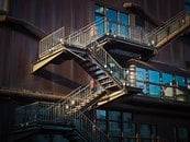 wood, stairs, light