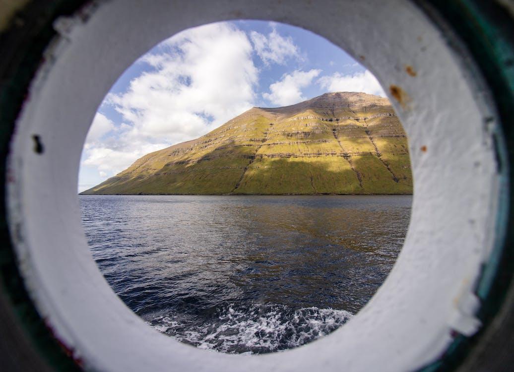 경치, 바다, 산