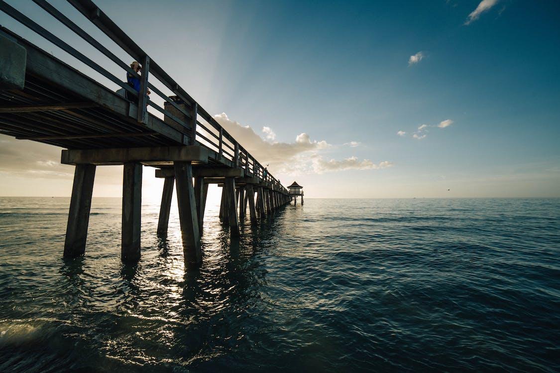bầu trời, bến tàu, biển