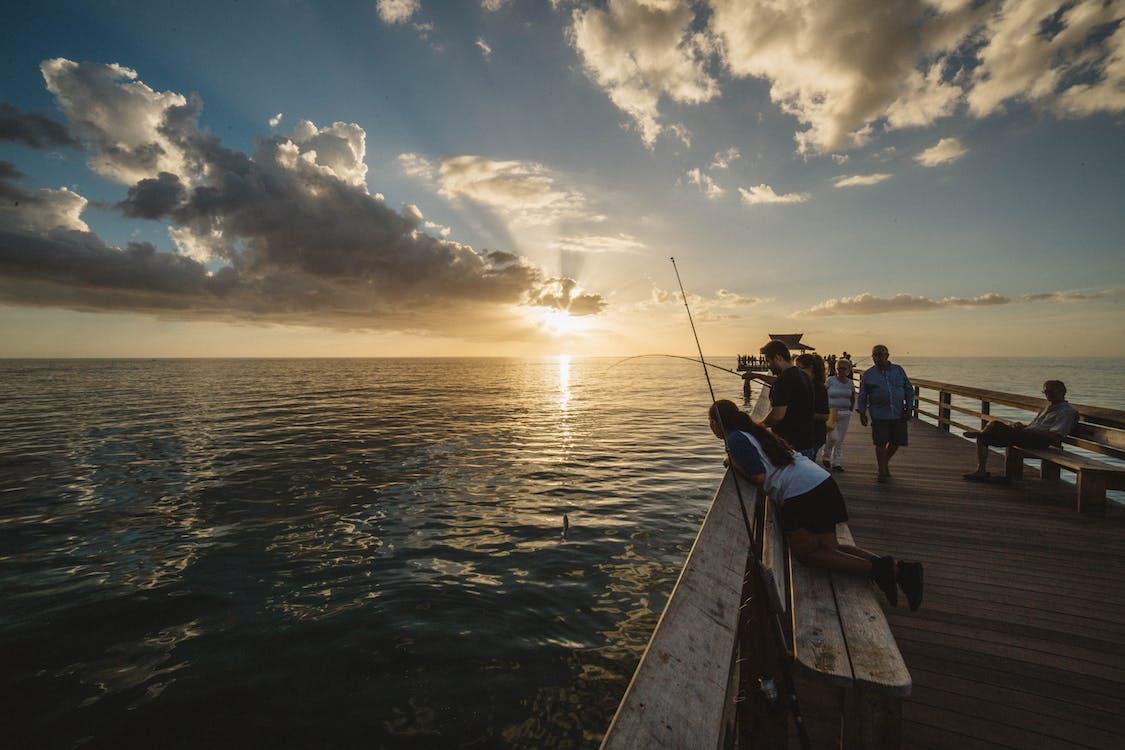 agua, amanecer, caña de pescar