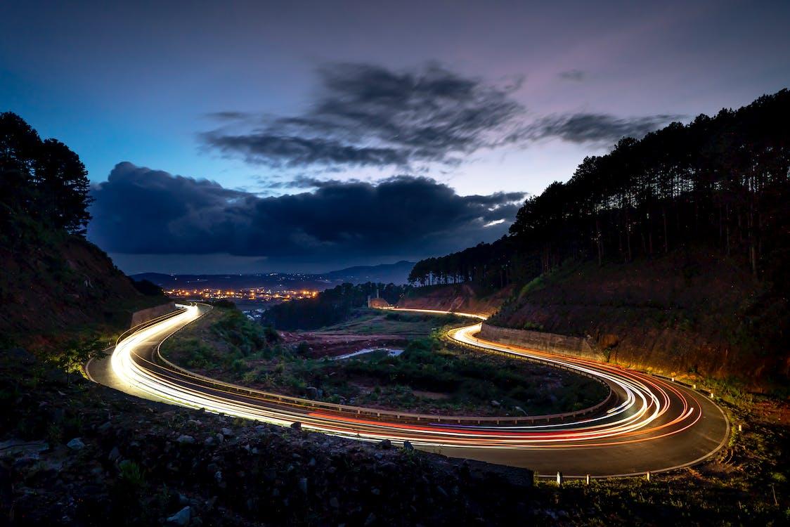 amanecer, asfalto, autopista