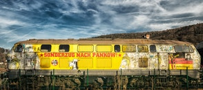 train, yellow, broken